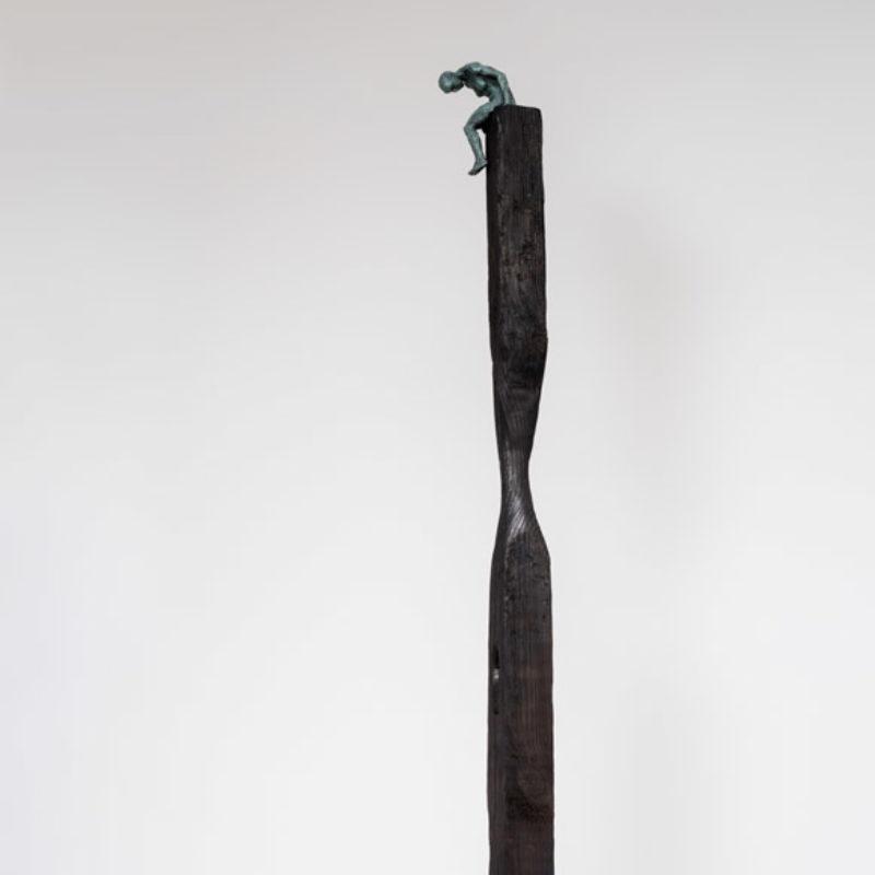 Anna Gillespie, How Far I Dare, Unique Bronze and wood 160 x 23 x 23 cm