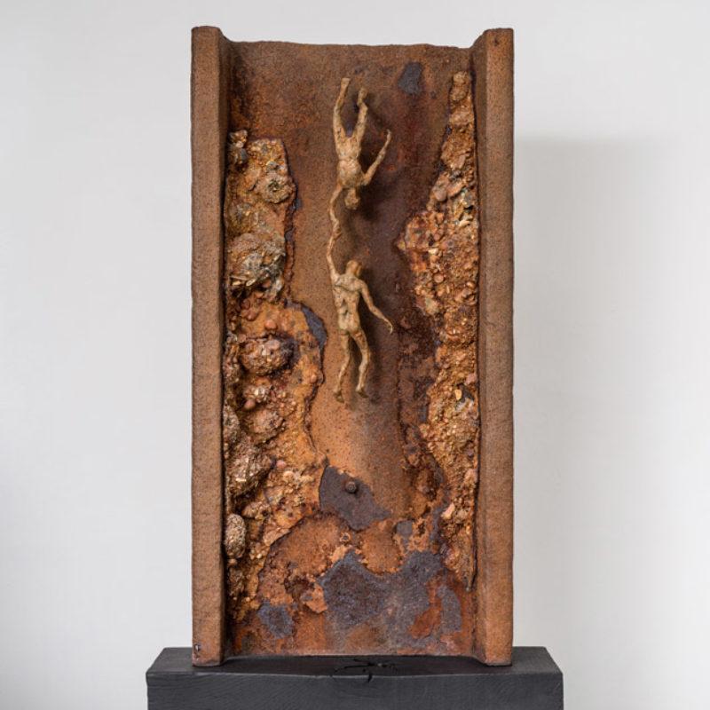 Anna Gillespie, Rescue Me #2, Unique, Bronze and found steel 102 x 55 x 21cm