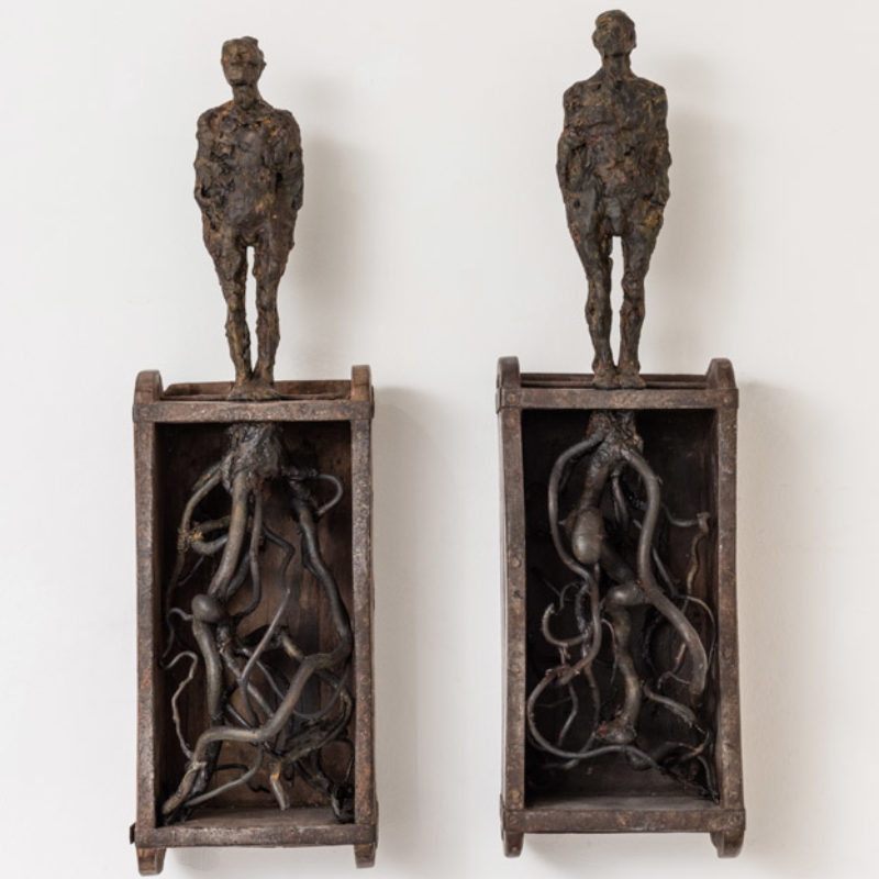 Anna Gillespie, Rooted, Plaster, wood, mixed media 52 x 37 x 14 cm