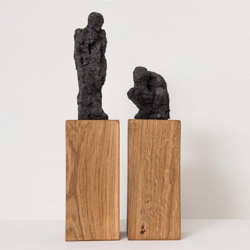 Anna Gillespie, Standing Ceramic 39 x 9 x 9cm Crouching Ceramic 29 x 9 x 9cm
