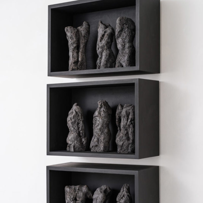 Anna Gillespie, Torsos, Ceramic, Each box 36 x 52 x 22 cm Installation 114 x 52 x 22 cm