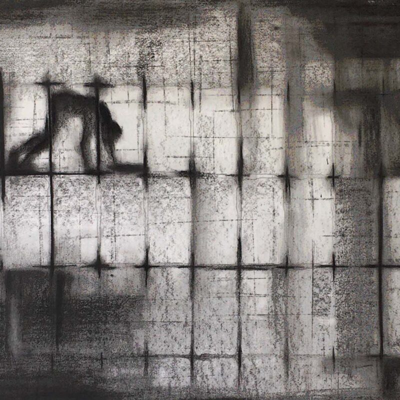 There is a Light Somewhere, Charcoal on Paper 58 x 81cm