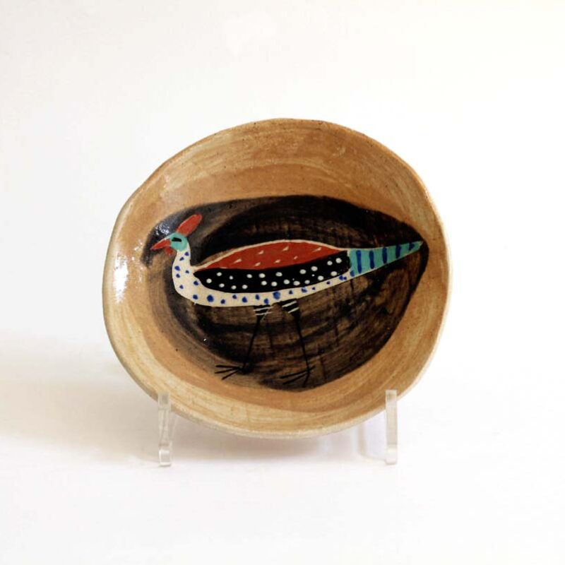 J11 Small Bird Plate, Stoneware 17 x 3 cm.