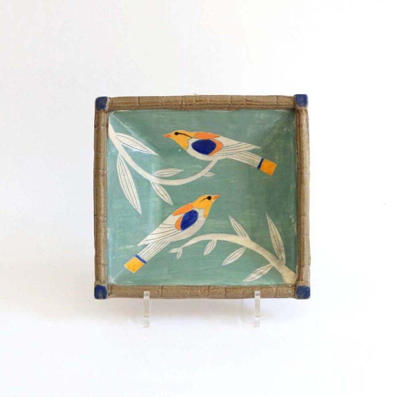 J6 Square Bird Dish, Stoneware 19 x 5 cm. £170