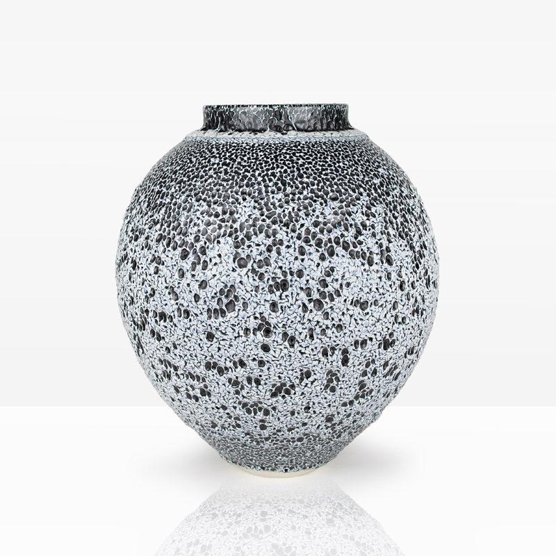 12. Winter Vessel, Porcelain with Oil Spot Glazes Ht. 41 x Diam. 36 cm. £800