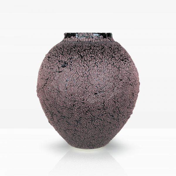 5. Cadmium Vessel, Porcelain with Oil Spot Glazes 40 x 35 cm. £700