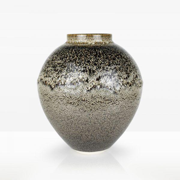 7. Cream Vessel, Porcelain with Oil Spot Glazes Ht. 40 x Diam. 36 cm. £600