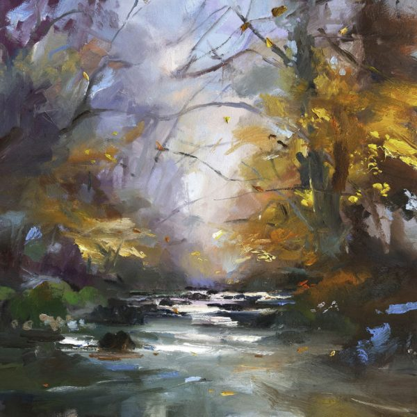 A River in Autumn IV, Oil on Canvas 90 x 100 cm.