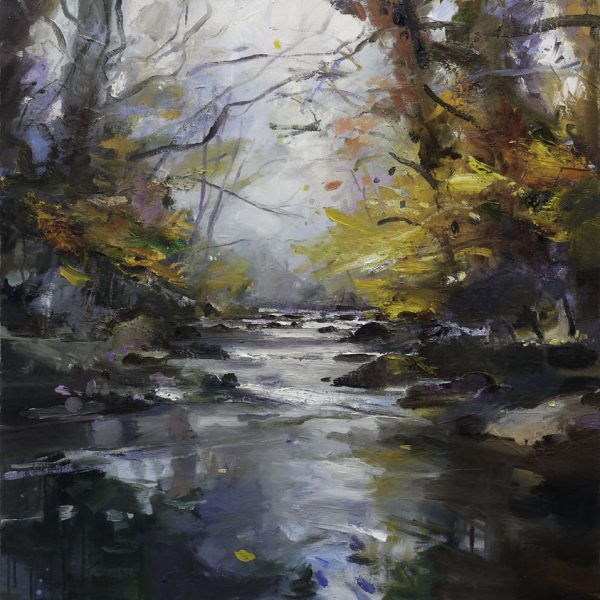 A River in Autumn V, Oil on Canvas 90 x 90 cm.