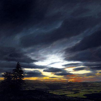 First Light, Torlum Hill, Oil on Linen 150 x 225 cm.