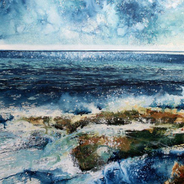 Bright Rocks, Acrylic on Paper 51 x 53 cm.