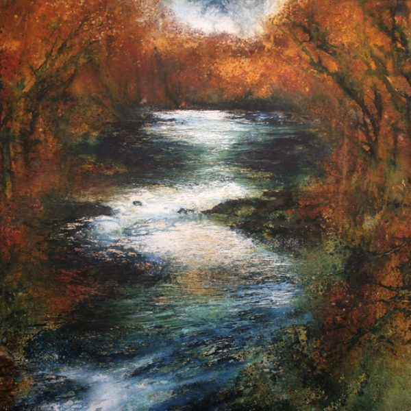 River Dart Above New Bridge, Acrylic on Paper 85 x 101 cm.