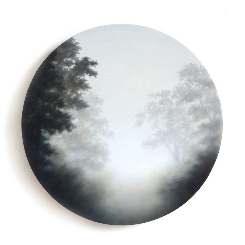 Figment LIV, Oil on Birch Ply d 20 cm.