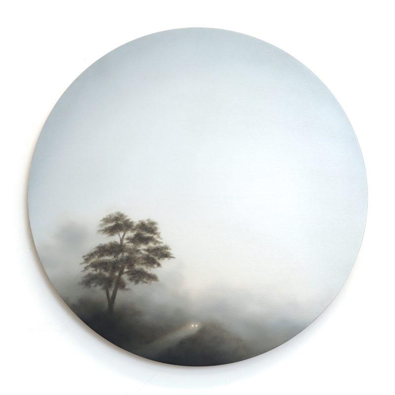 Figment LXIII, Oil on Birch Ply d 40 cm.
