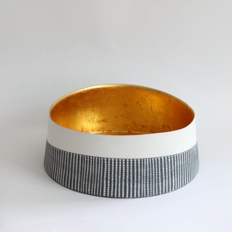 S1. Large Shallow Bowl with 23 ct Gold Interior, Parian Clay 11 x 25 cm. £1,100