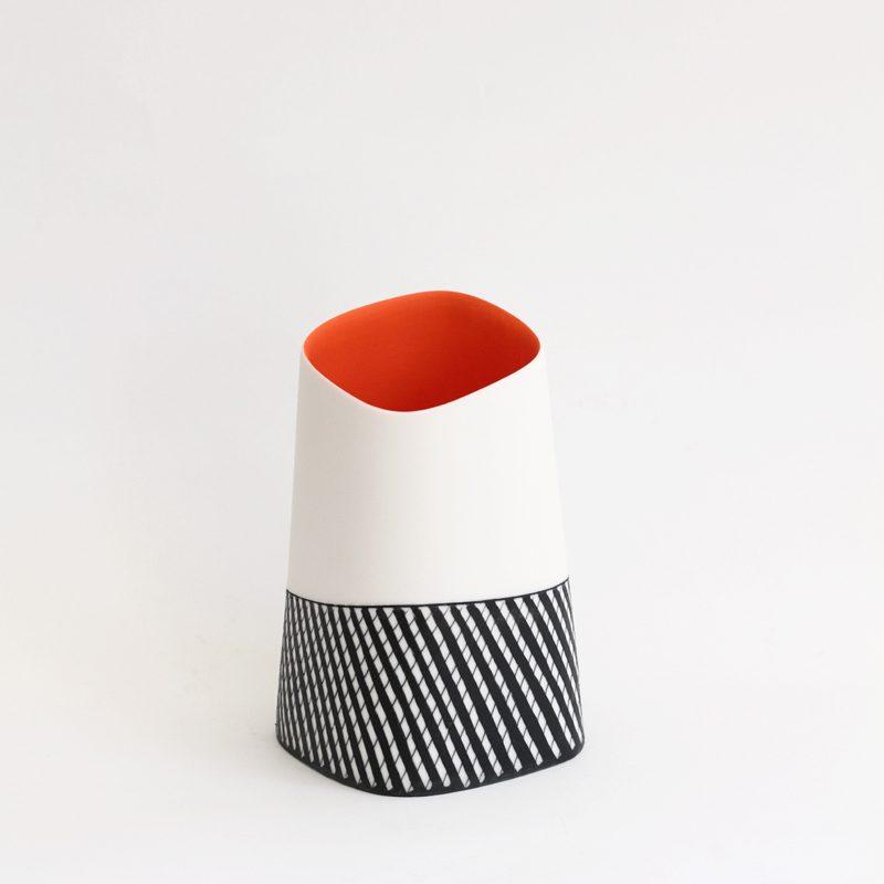 S10. Squared Vase with Orange Interior I, Parian Clay 16 x 9 cm. £280