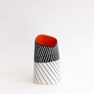 S11. Squared Vase with Orange Interior II, Parian Clay 17 x 10 cm. £280
