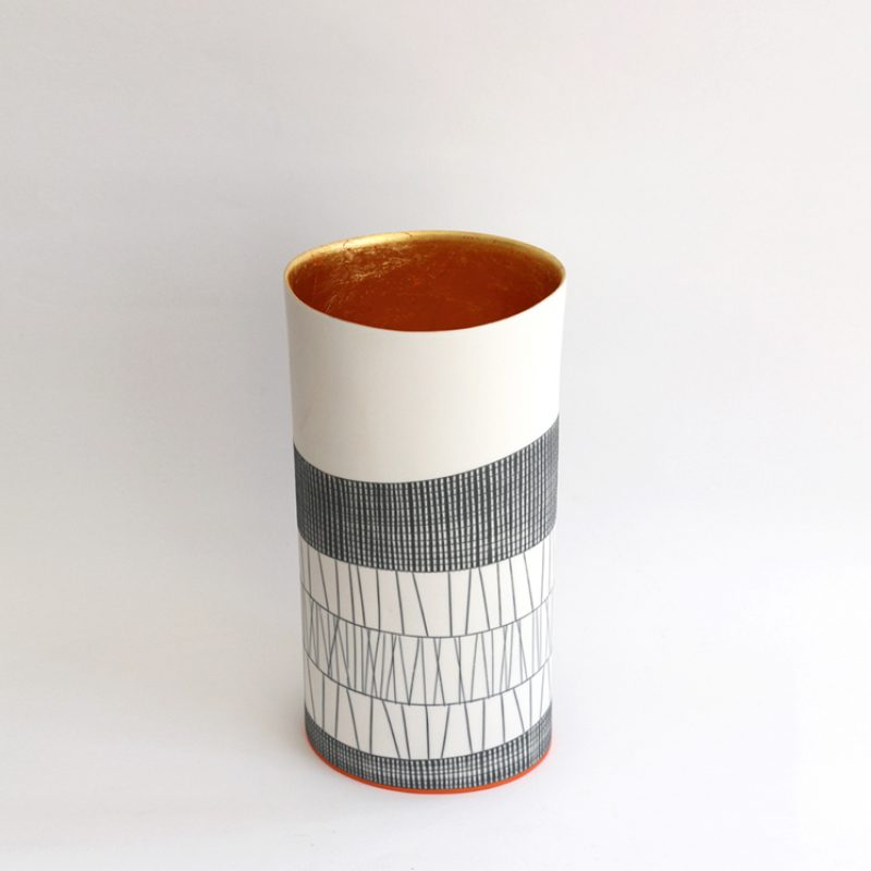 S20. Tall Vase with 23 ct Gold Interior , Parian Clay 11 x 28 cm. Sold
