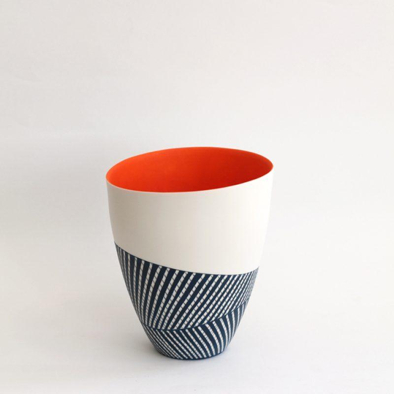 S3. Deep Bowl with Orange Interior, Parian Clay 21 x 19 cm. £600