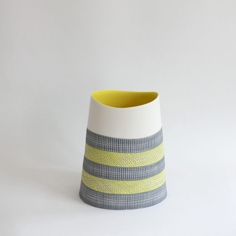 S40. Vessel in Yellow and Grey 21 x 17 cm. £600