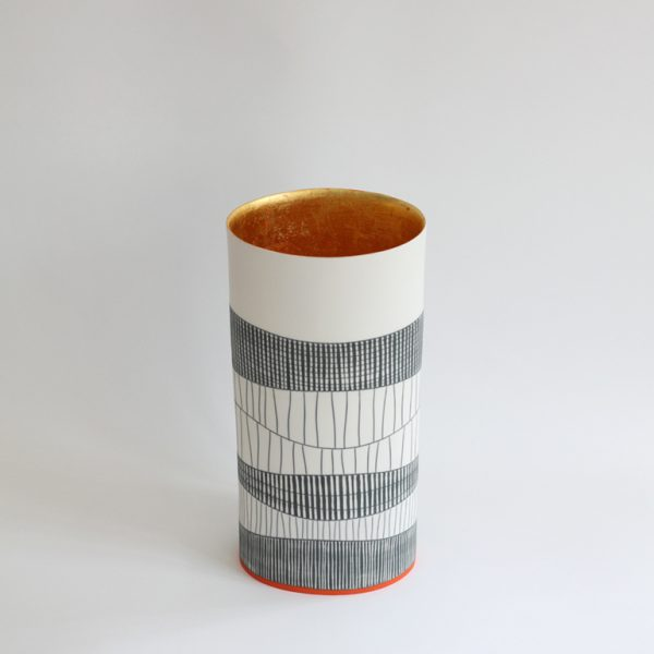 S49. Tall Oval Vessel with 23.5 ct gold interior 33 x 17 cm.