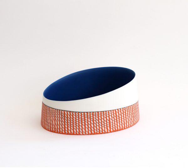 S5. Deep Blue Oval Vessel, Parian Clay 8 x 17 cm. £300