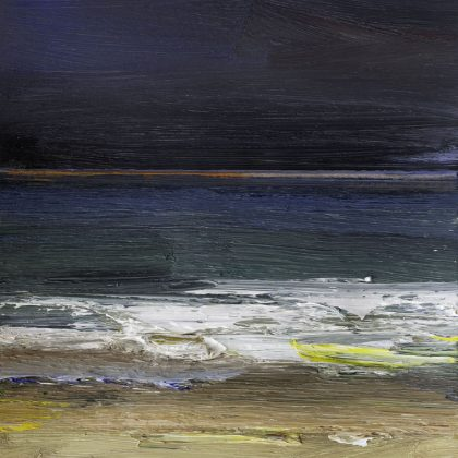 Night Sea Winter, Oil on Paper 23 x 20 cm.