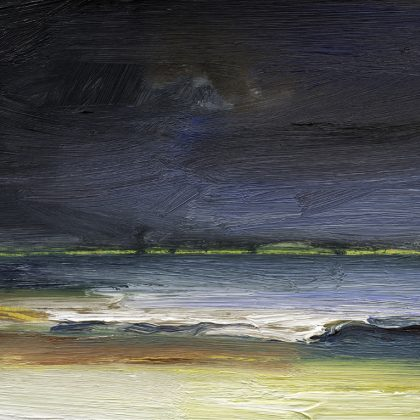 The Sea at Night, Oil on Paper 20 x 23 cm.